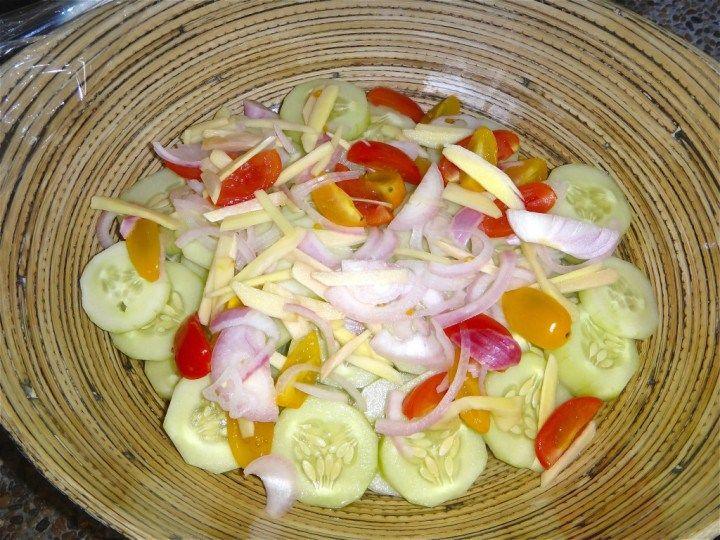Filipino cucumber, tomato, onion and vinegar salad