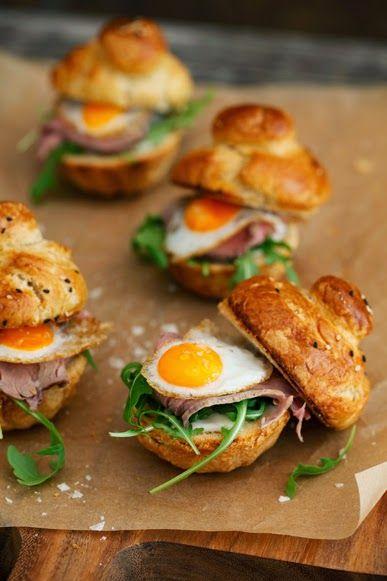 Brioches with eggs.