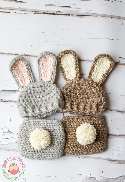 both adorableBunnies Outfit, Bunnies Sets, Bunnies Hats, Adorable Bunnies, Diapers Covers, Baby, Diaper Covers, Crochet Bunnies, Newborns
