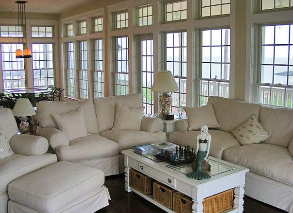 Living room of view house...windows all the way across.