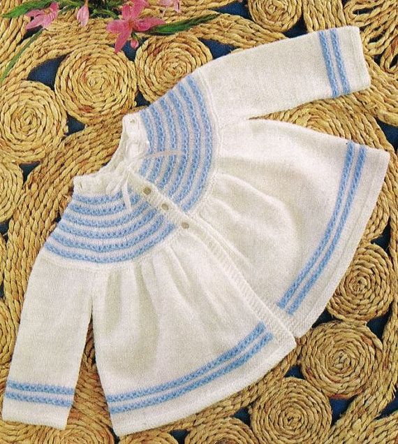 baby matinee coat vintage knitting pattern PDF por Ellisadine
