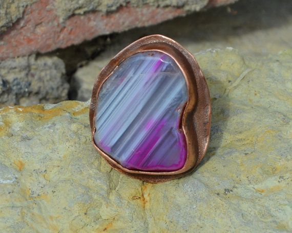 banded agate violet ring gemstone ring large by CopperFinger