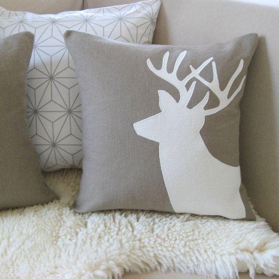 Deer Pair Pillow Covers Winter Wonderland Mocha by VixenGoods