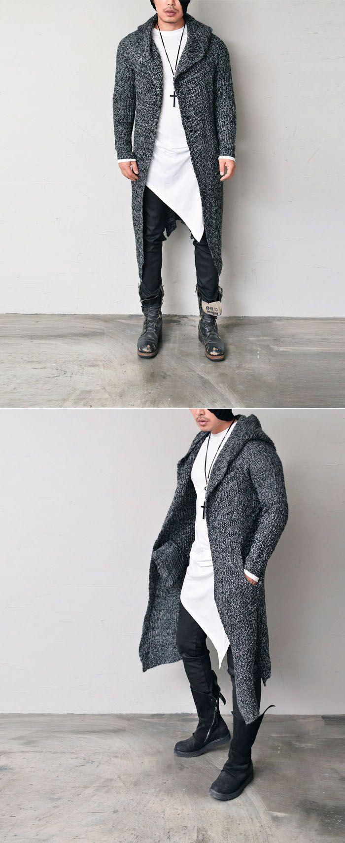 Marled Long Hood Jacket-Cardigan 189 by. Guylook.com  Great quality soft acrylic blends Warm & cozy yet must-have stylish jacket Generously sized to flatter most any body shape
