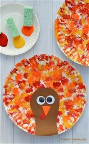 Thanksgiving Paper Plate Turkey - sponge paint the plate in fall