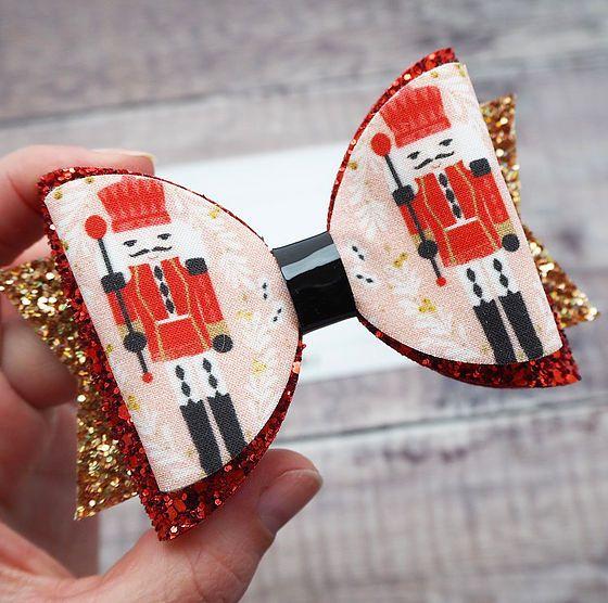 handmade hair bow, baby bows, girls hair bow, the nutcracker, christmas hair bows
