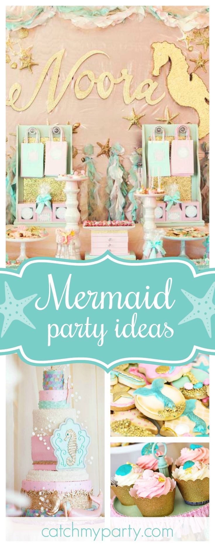 Don't miss this incredible Under the Sea Mermaid Soiree!! The dessert table is gorgeous!! See more party ideas and share yours at CatchMyParty.com