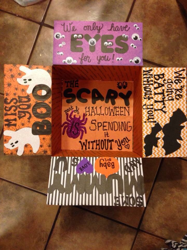 Halloween Care Package box fully decorated