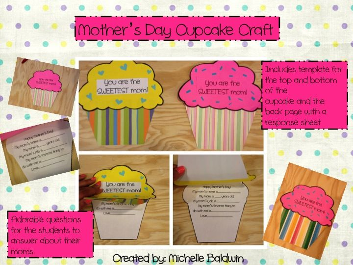 Apples and ABC's: Adventures in Kindergarten: Cupcake Mother's Day Craft