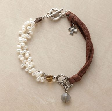 Two Part Harmony Bracelet: Bracelets Tutorials, Sundanc Bracelets, Harmony Bracelets, Leather Cord, Smoky Quartz, Sterling Silver, Flamingos When, Pearls Bracelets, Leather Bracelets