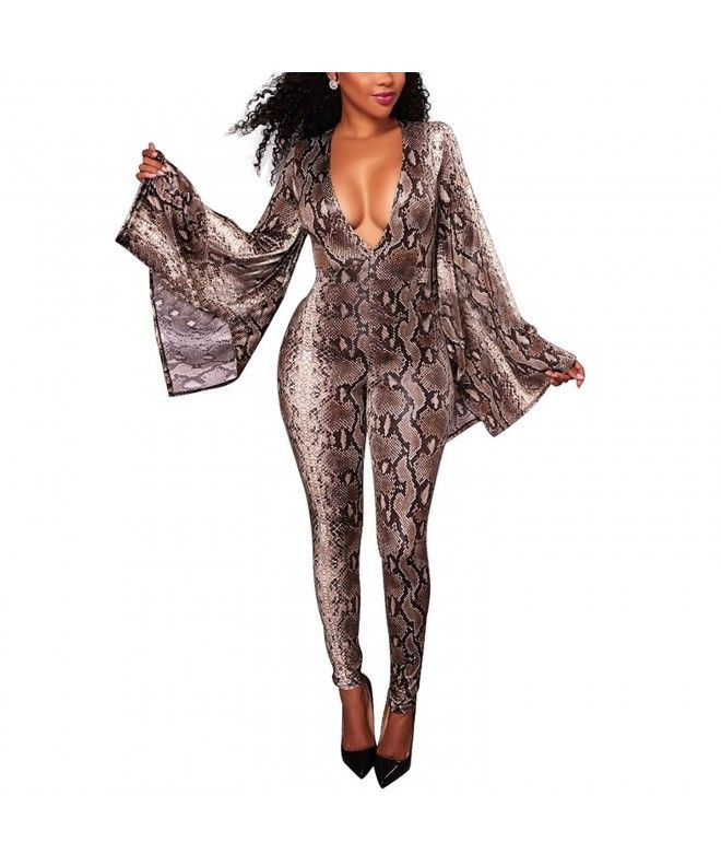 7705a88998af Women Sexy Deep V-Neck Flare Long Sleeve One Piece Bodycon Jumpsuit Romper  Clubwear -