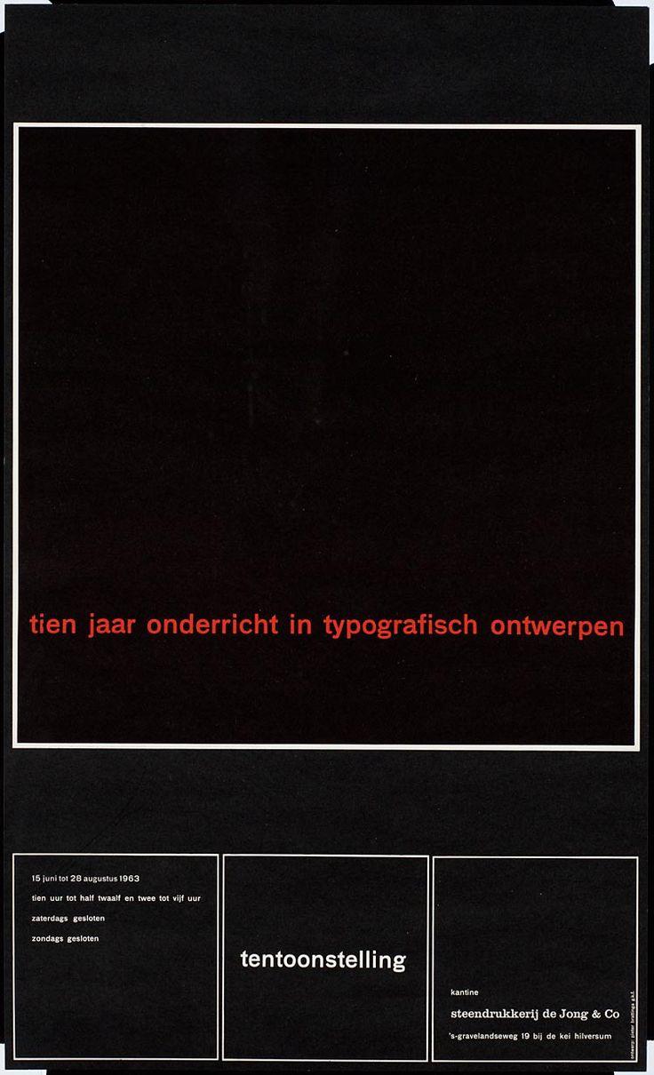 Pieter Brattinga, kantine steendrukkerij de Jong & Co Hilversum 15 juni tot 28 augustus 1963 tien jaar onderricht in typografisch ontwerpen, 1963