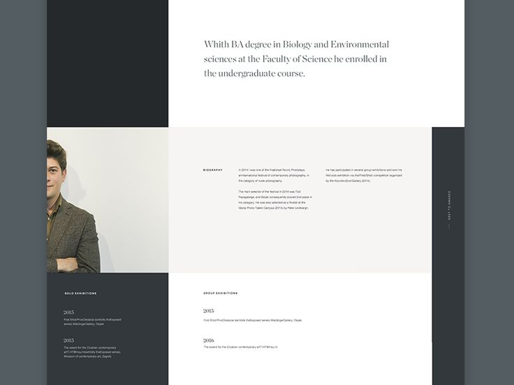 Biography Page — Layout Experiment