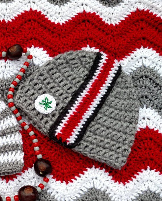 b45d234220c Adorable Ohio State Buckeyes Baby Beanie! Great for baby photos! This OSU  baby hat
