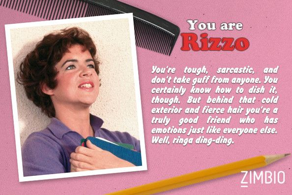 I took Zimbio's 'Grease' quiz and I'm Rizzo! Who are you? #ZimbioQuiz