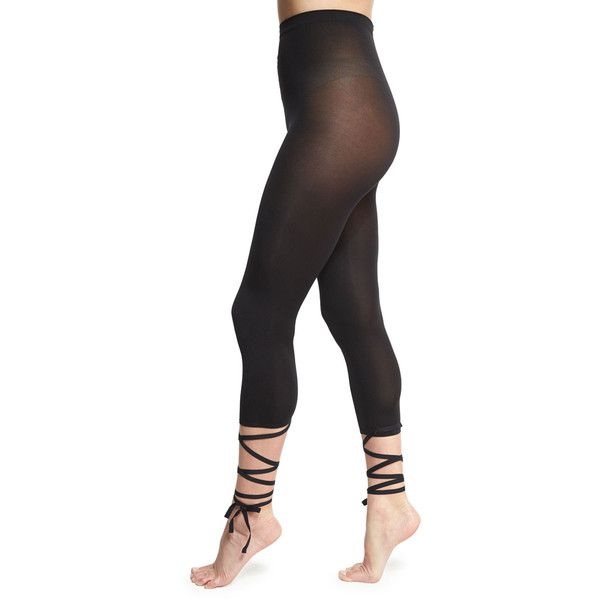Wolford Lace-Up Capri Footless Tights ($67) ❤ liked on Polyvore featuring intimates, hosiery, tights, black, footless pantyhose, wolford pantyhose, wolford tights, ballet tights and laced tights