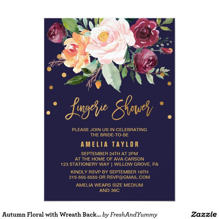 Autumn Floral with Wreath Backing Lingerie Shower CardAutumn Floral with Wreath Backing Lingerie Shower Card This autumn floral with wreath backing lingerie shower invitation card is perfect for a fall bridal shower. The design features a stunning bouquet of blush, orange peach, and marsala burgundy flowers with faux gold foil typography and confetti. The backing features a gorgeous flower wreath which can be personalized with the name of the bride-to-be. Please Note: This design does not…