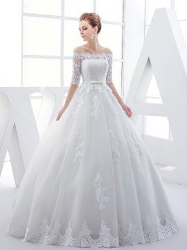 Glamorous Off The Shoulder Half Sleeves Appliques Ball Gown Wedding Dress & colorful Wedding Dresses
