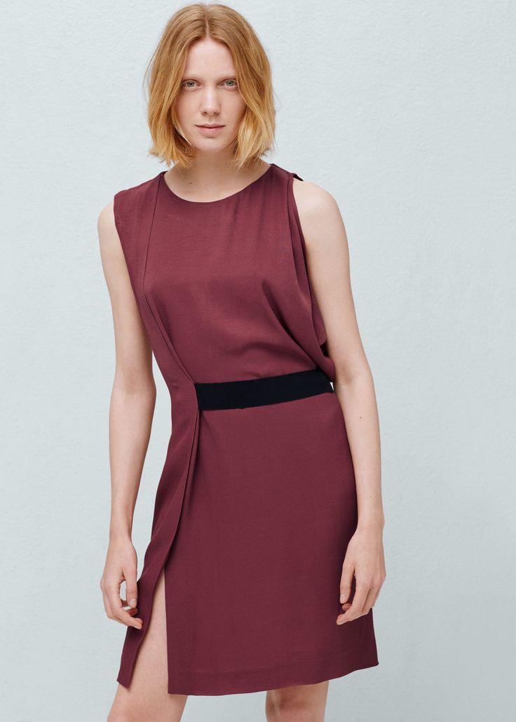Contrast belt dress - Dresses for Woman | MANGO Montenegro