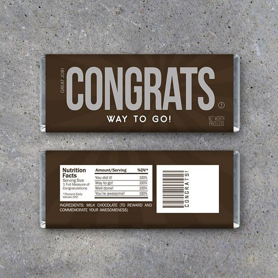 CONGRATS Candy Bar Wrappers! Printable DIY Hershey bar wrappers to say congratulations, good job, way to go, well done! Make great party favors for retirement parties, job promotions, or just to tell your kids congrats on a job well done! Instant Download by Studio 120 Underground, $5.