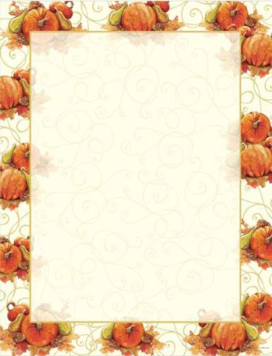 Featuring a beautifully elegant pumpkin and swirls border, Pumpkin Swirl Fall & Autumn Border Computer Printer Paper is great for use as letterhead, party invitations, announcements, fall sales flyers, restaurant menus, posters, and much more.