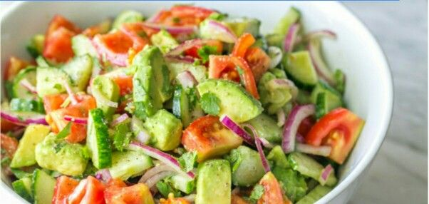 Tomato Avocado Salad: *1 lb Roma tomatoes *1 English cucumber *1/2 medium red onion, sliced *2 avocados, diced *2 Tbsp extra virgin olive oil *Juice of 1 medium lemon *1/4 cup cilantro (or dill) *1 tsp sea salt *1/8 tsp black pepper
