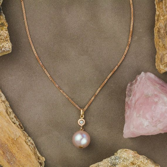 Name ❤Natural Pink Pearl and Diamond Necklace in 18K Pink (Rose) Gold, Pink Pearl Pendant Necklace, White Diamond Pendant, Handmade Jewelry