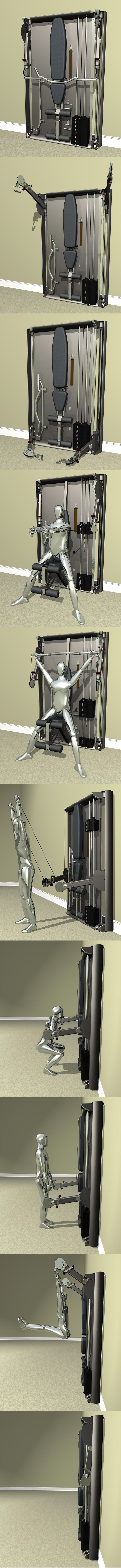 SlimGym is a sleek, futuristic commercial quality gym that can be positioned into innumerable positions to provide an unprecedented amount of exercise variation, all in an ultra-compact foot print of 4 square feet.  Free motion movements with the exercise bar or hand grips mimic the feel of free weights. Fast and efficient transitions between exercises and resistance levels allows for circuit training.  SlimGym is the first and last gym you will ever need or want.  The ultimate home gym