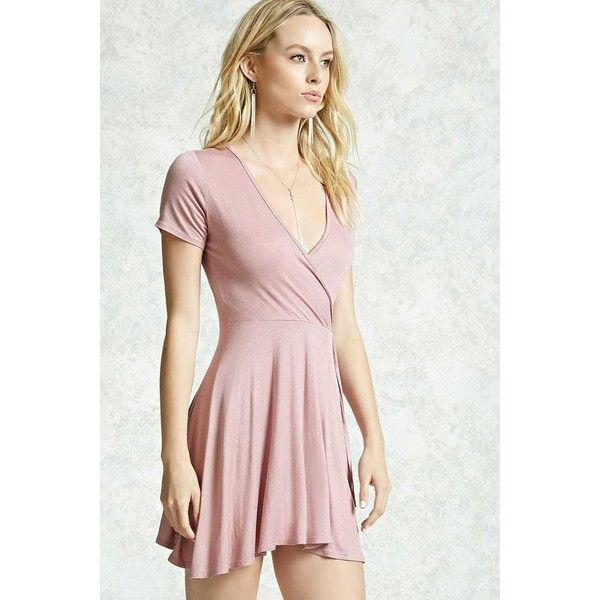 Forever21 Surplice Tie-Waist Dress ($10) ❤ liked on Polyvore featuring dresses, cross over dress, sleeved dresses, pink dress, forever 21 dresses and surplice dress