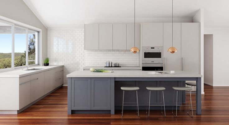 Transitional kitchen design. Central Coast, NSW. Island in contrast colour. Fridge and freezer both hinged on same side