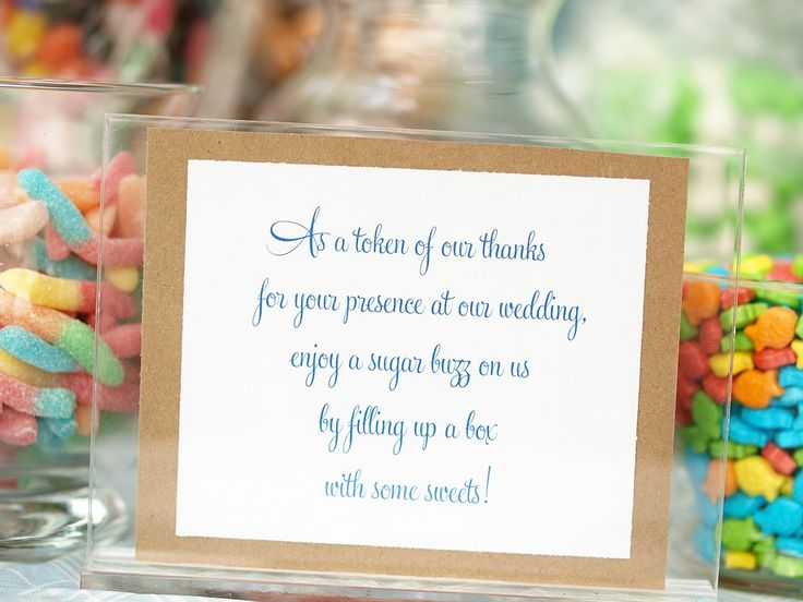 Wedding Reception Candy Buffet Table Labels