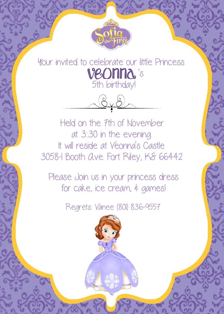 Disney's Sofia the First Birthday Invite | Birthday ...