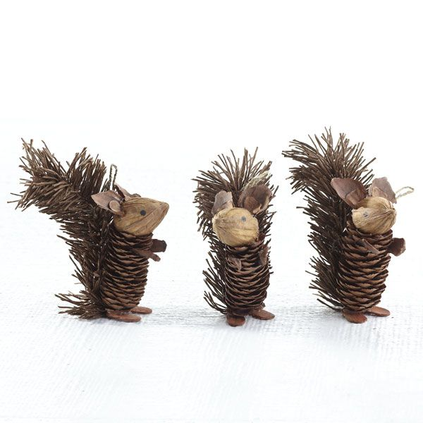 Wisteria holiday holiday decor trim a tree winter pinecone friends squirrels set of - Crafty winter decorations with pine cones ...