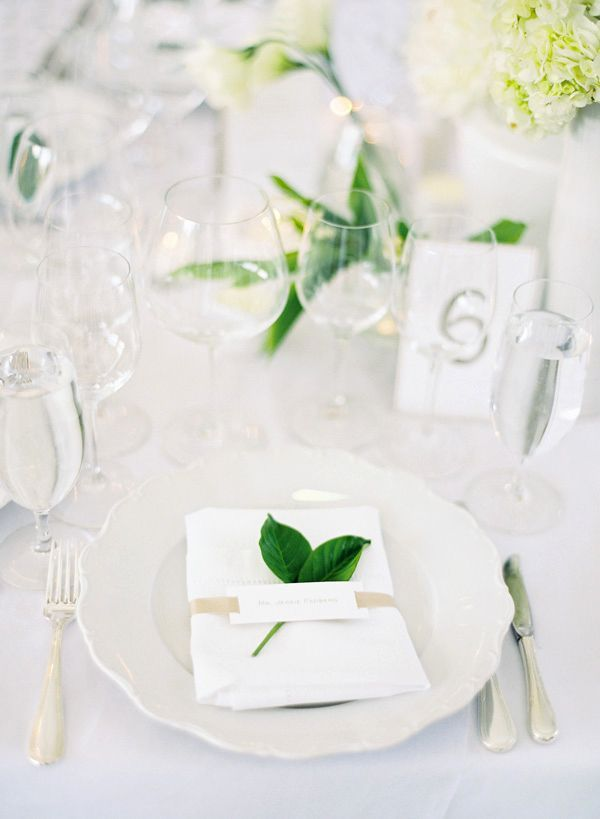 Crisp Green + White place setting inspiration for a wedding or party