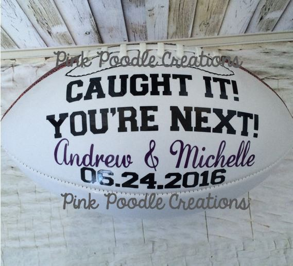 Garter Toss Football, Wedding Football, Garter Toss by PinkPoodleCreations on Etsy https://www.etsy.com/listing/267930942/garter-toss-football-wedding-football