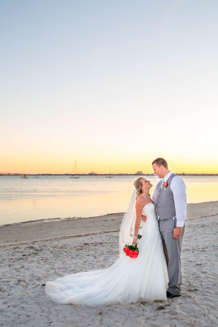 Beautiful Sunset Portrait Of The Bride And Groom On Beach At Gulfport Casino