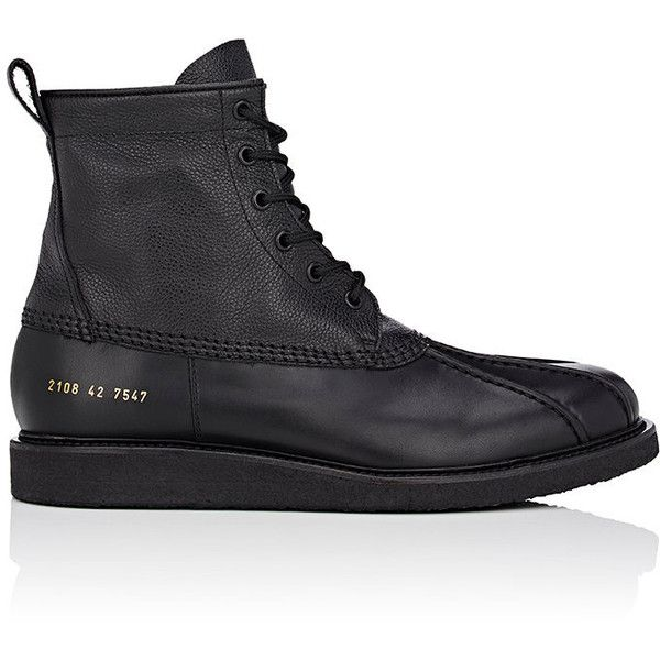 "Common Projects Men's ""Duck\"" Leather Lace-Up Ankle Boots (865 CAD) ❤ liked on Polyvore featuring men's fashion, men's shoes, men's boots, black, mens leather lace up boots, mens round toe boots, mens lace up boots, mens ankle boots and mens round toe shoes"