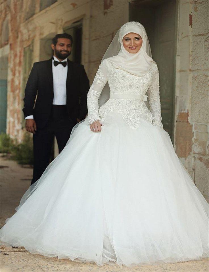 Мусульманские дубай арабские свадебные платья 2016 длинные рукава высокого шеи бальное платье аппликация тюль платье невесты платье хороший дизайн