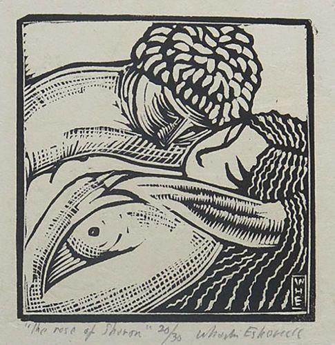 Antique-Wharton-Esherick-Song-of-Solomon-ROSE-OF-SHARON-Lt-Ed-Woodcut-Print-yqz