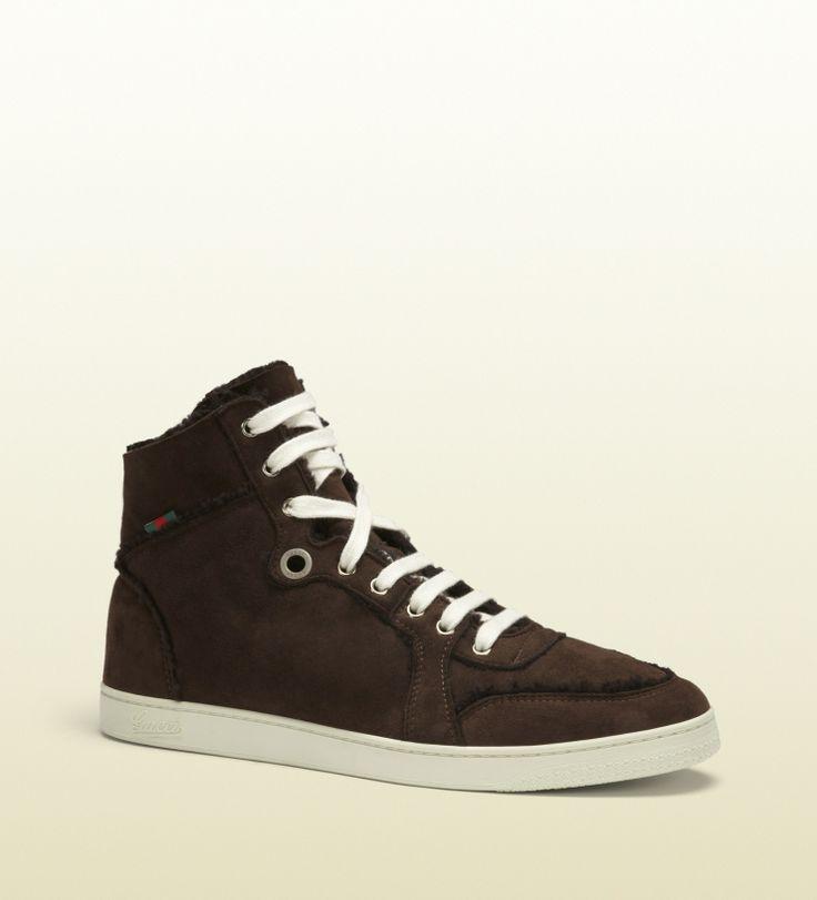 Gucci - 309408 BND40 2140 - brown shearling high-top sneaker - brown  shearling *