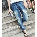 New Fashion Women Casual Low Rise Boyfriend Style Denim Ripped Frayed diy hole washed-out jeans Free Shipping
