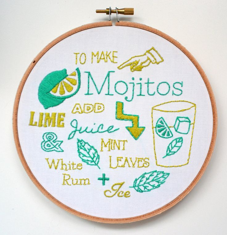 Embroidery Kit Mojito Recipe by RosiesRagsCrafts on Etsy