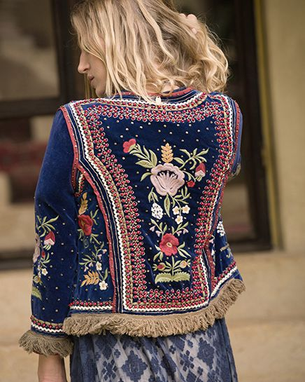 Ruby Yaya | Spring Summer 2017  Embroidered blue velvet jacket.  #Bohemian #craft #handmade #embroidery #elegant #unique