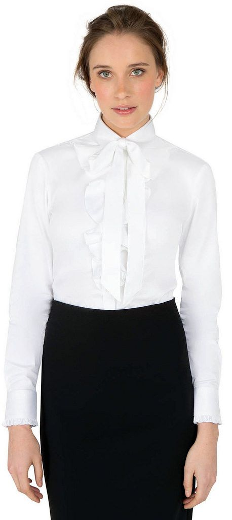 Dressed For Work By New Company Dress Code - White Bow Blouse And Black Pencil Skirt