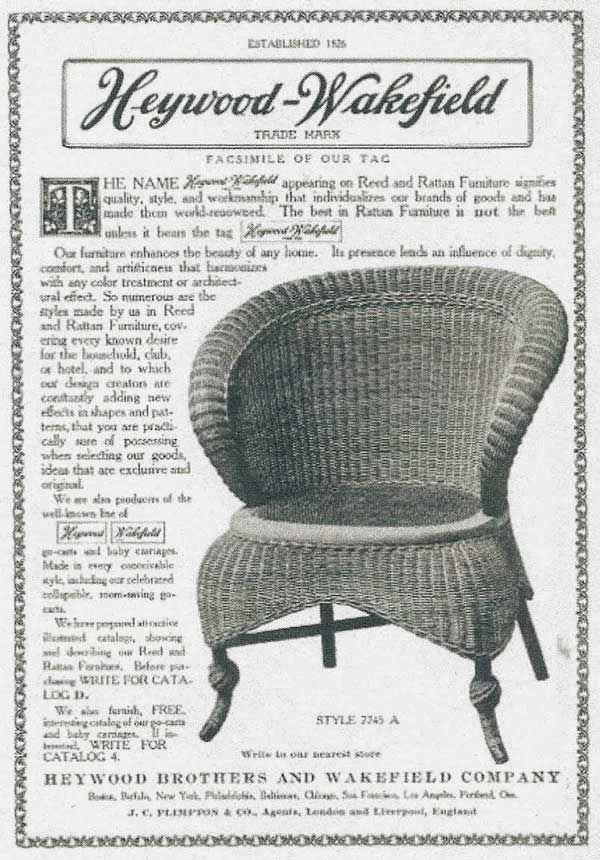 Wakefield Company and Haywood Brothers & Company ultimately merged to form Heywood-Wakefield Company in 1897. This merger consolidated resources of two of the largest manufacturers' in a deal that included designers and master craftsmen. It is actually possible to view a copy of the first catalog that was released by Heywood-Wakefield Company in 1898.