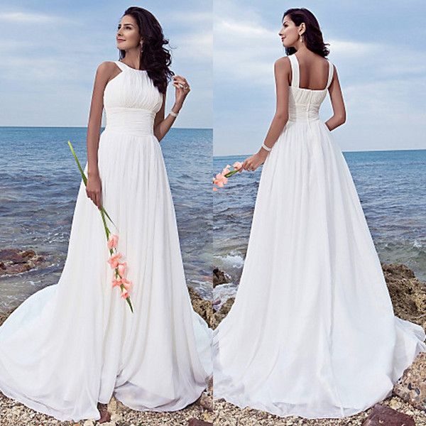 Could be cute with a jacket Plus Size Beach Wedding Dresses Halter Neck Empire Waist A Line Sweep Train White Chiffon Ruched Beach Wedding Gowns Bride Dresses Classic Lace Wedding Dresses Exquisite Wedding Dresses From Garmentfactory, $102.52| Dhgate.Com