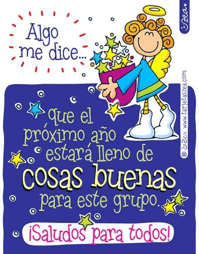 Buenos deseos para el grupo de WhatsApp-Ángel cargando estrellas. © ZEA www.tarjetaszea.com