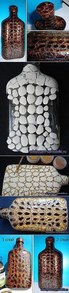 Eggshells on bottle to make it look like crackled.