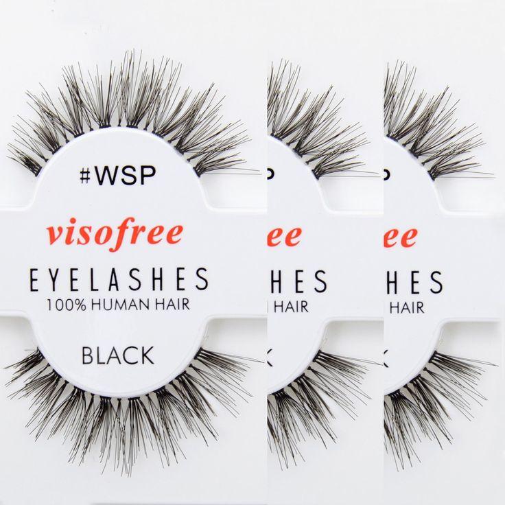 12 paires Visofree Cils WSP Cils 100% Fait Main de Cheveux Humains Faux Cils Désordre Nature Cils maquiagem