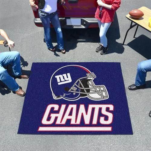 New York Giants NY tailgate mat. This New York Giants NY area rug is perfect for the house or tailgating at 5 ft x 6 ft. Mat is chrome jet printed, allowing full penetration of the color down the enti